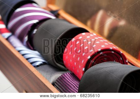 Display Of Man Ties In A Shop