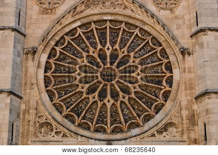 Main Rose Window Of Leon Gothic Cathedral In Spain