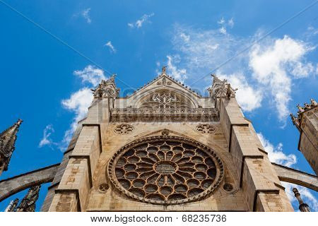 Main Rose Window View In The Gothic Cathedral Of Leon, Spain