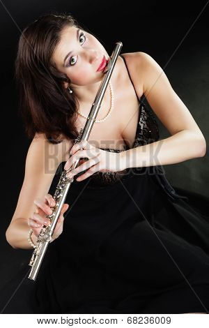 Art. Woman Flutist Flautist Playing Flute. Music.