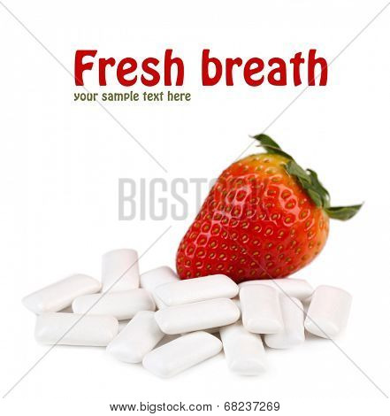 Chewing gum with fruit taste,  isolated on white
