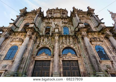 Santiago De Compostela Cathedral North Door Entrance Closeup View