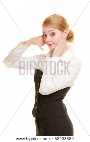 Phone. Worried Businesswoman Making Call Me Gesture