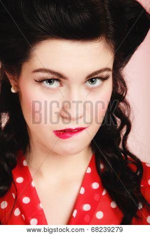 Retro. Pinup Girl Woman Biting Her Lips