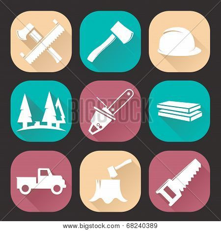 Lumberjack Woodcutter Icons Set Isolated On Dark Background. Flat Trendy Design. Vector Illustration