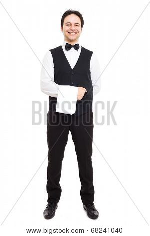 Full length portrait of a professional smiling waiter
