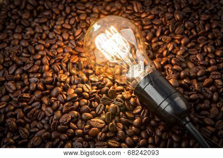 Light bulb on coffee beans