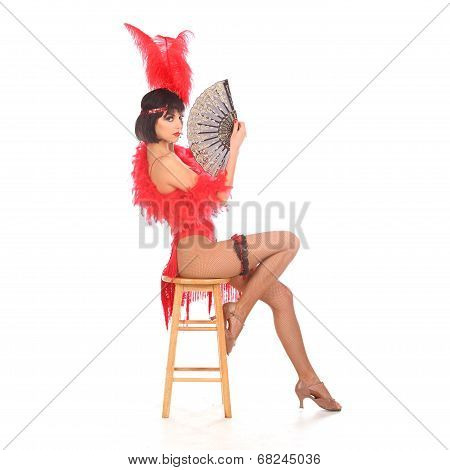 Burlesque Dancer With Red Plumage And Short Dress, Isolated On White