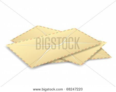 Stack of three vector vintage post envelopes.