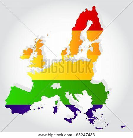 Rainbow Flag In Contour Of European Union
