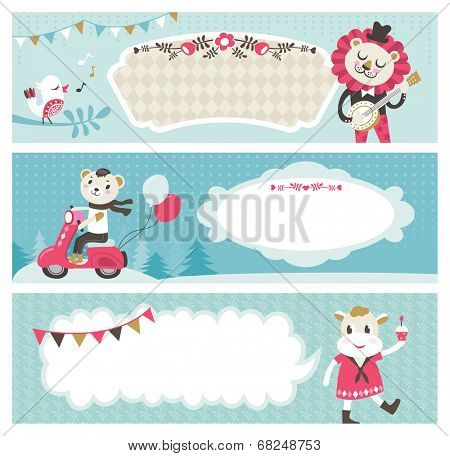 Set of horizontal banners with cute animals & empty text box for your message