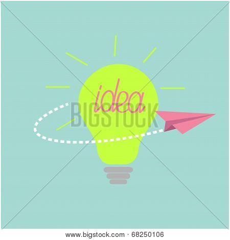 Origami paper plane flying around the idea light bulb. Flat desi