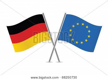 European Union and Germany flags. Vector illustration.