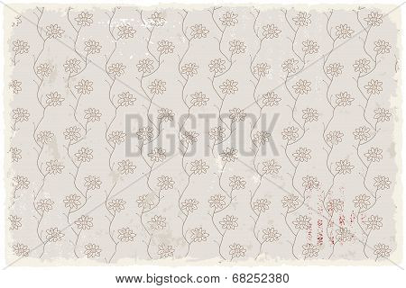 Floral vintage wallpaper retro background. Vector