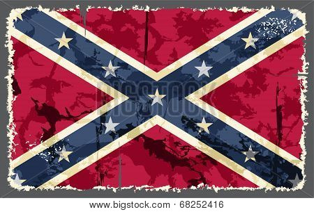 Confederate grunge flag. Vector illustration