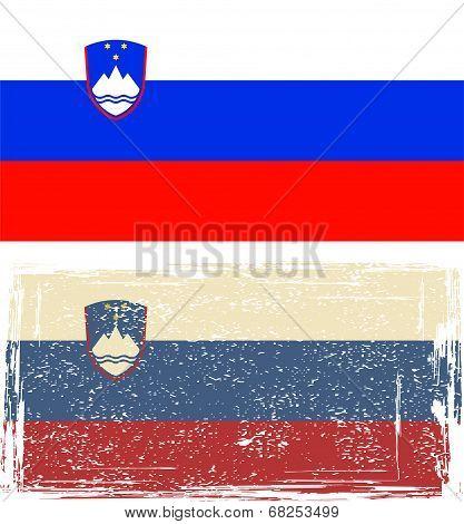 Slovenian grunge flag. Vector illustration