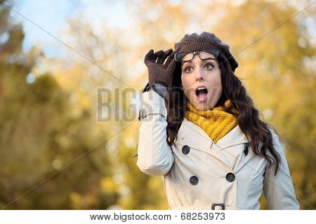 Fashion Surprised Woman With Eyewear In Autumn
