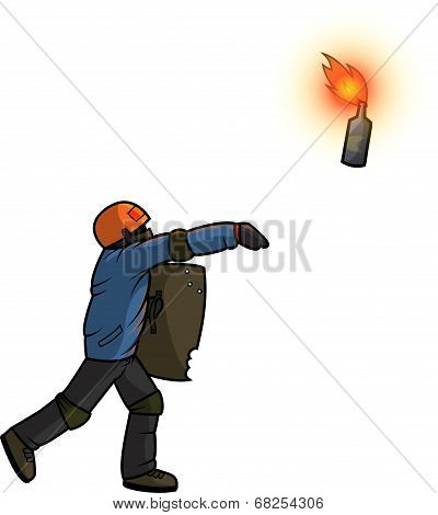 Vandal throws Molotov cocktail