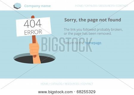 Human hand shows from hole a message about Page not found Error 404