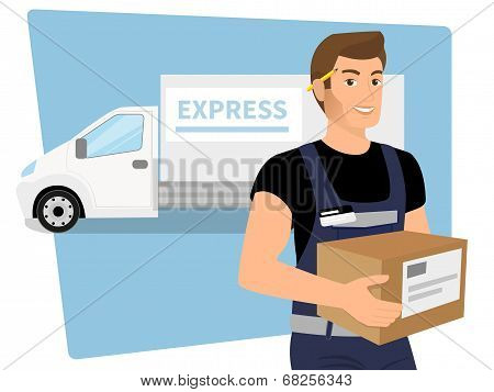 Delivery service man with a box in his hands and white delivery car behind him