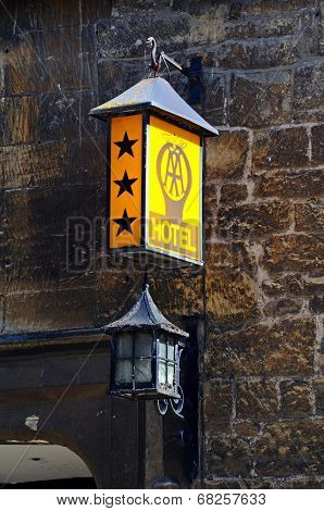 Old three star hotel sign, Chipping Campden.