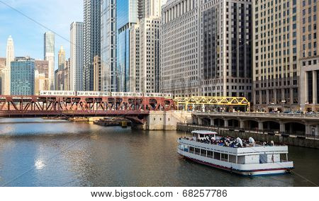City of Chicago downtown and River with bridges