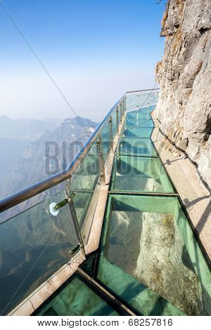Glass sky walk at Tianmenshan Tianmen Mountain China