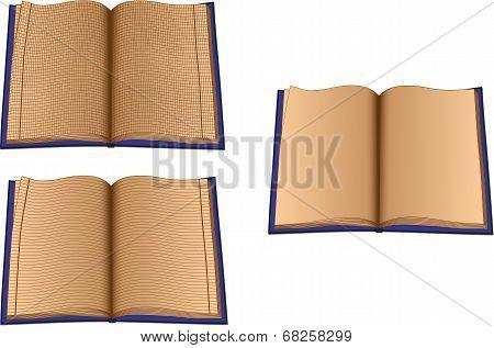Three writing-books isolated on white background