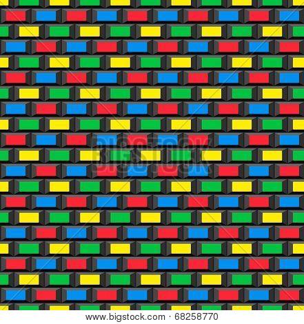 Old School 8 Bit Brick Arcade Game Style Background (seamless Vector)