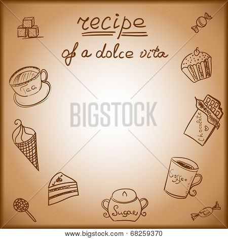 Card with the image of a sweet food