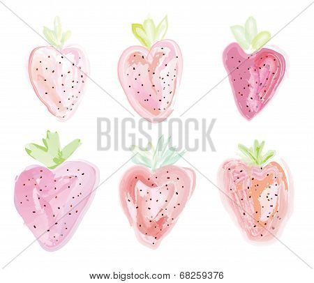 Set of strawberries - watercolor style