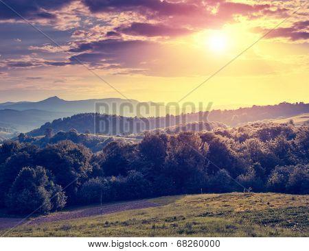 Beautiful sunny day is in mountain landscape. Carpathian, Ukraine, Europe. Beauty world. Retro filtered. Instagram toning effect.