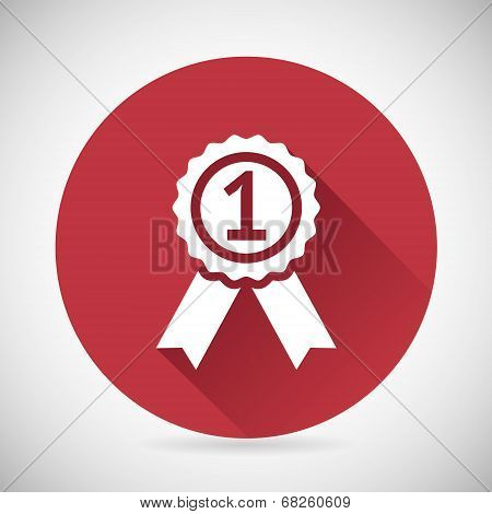 Victory Prize Award Symbol Badge With Ribbons Silhouette Icon Design Template Vector Illustration