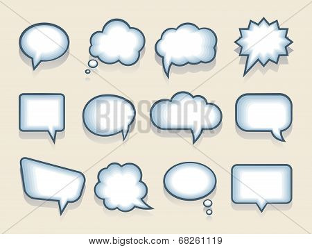 Set of vector speech or thought bubbles