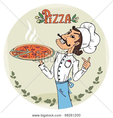 Italian chef with a steaming hot pizza