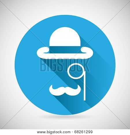 Gentleman Accessories Symbol Bowler Hat Monocle Mustache Silhouette Icon Stylish Background Modern F