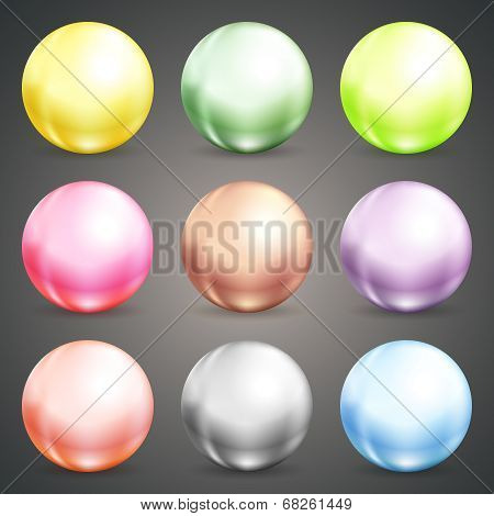 Set of colorful round baubles or balls