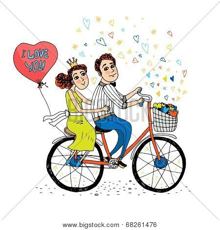 Two young lovers riding a tandem bicycle