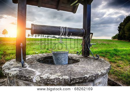 Ancient Draw-well In European Village