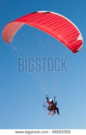 Paraglider on Blue Sky