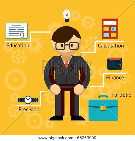 Vector with information on a businessman