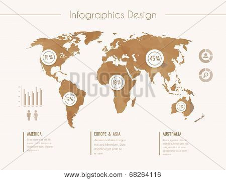 Infographic template with world map in retro style