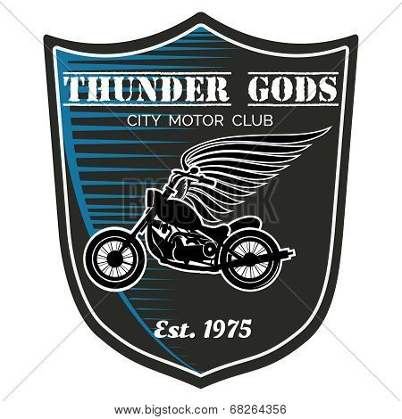 Vector motorcycle club label - Thunder Gods
