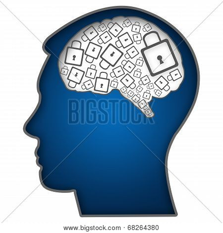 Human Head With Brain Filled With Locks