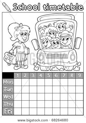 Coloring book school timetable 7 - eps10 vector illustration.