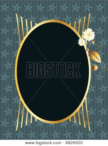 Blue gold oval frame