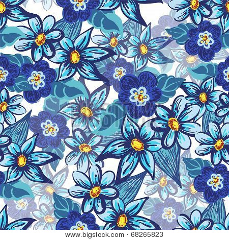 Handdrawn floral seamless pattern
