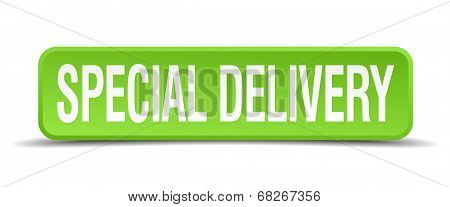 Special Delivery Green 3D Realistic Square Isolated Button