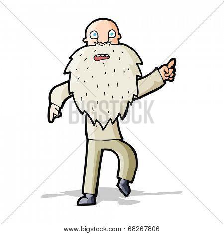 cartoon stressed old man