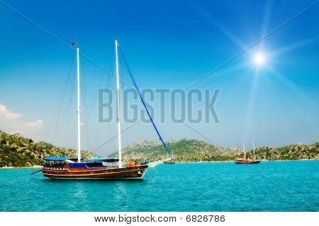 Wonderful Yachts In The Bay And Sunbeams. Turkey. Kekova.